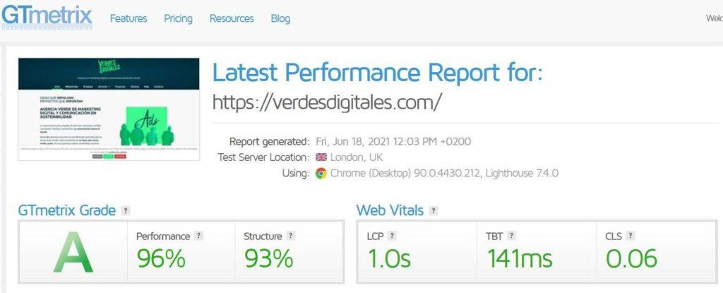 Herramienta GTmetrix aplicada a la web de verdesdigitales.com