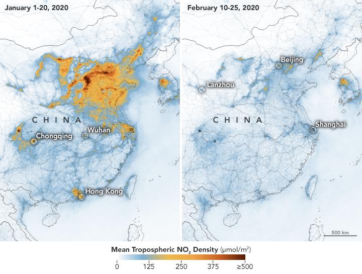 La mejora de la calidad del aire en China a causa del confinamiento por el coronavirus